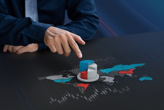 Businessman touch market share icon on world map screen Premium Photo