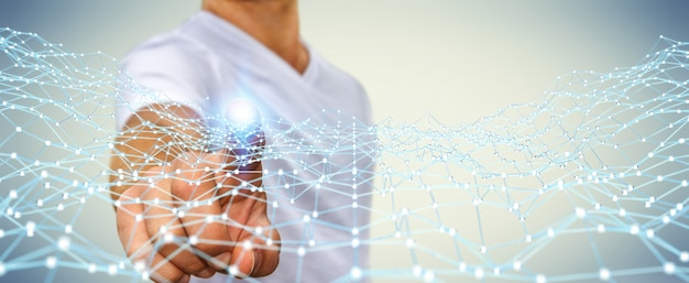 Businessman touching flying network dot 3d rendering Premium Photo