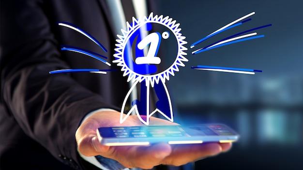 実業家、ナンバーワンのための手描きの報酬とスマートフォンを使用して Premium写真