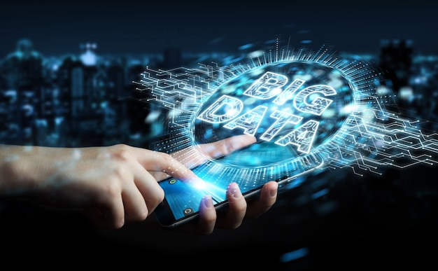 Businessman using big data digital hologram 3d rendering Premium Photo