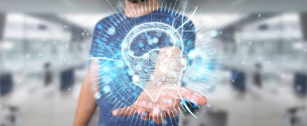Бизнесмен используя цифровой перевод голограммы 3d значка искусственного интеллекта Premium Фотографии