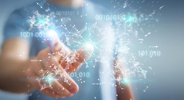 Businessman using digital binary code connection network Premium Photo