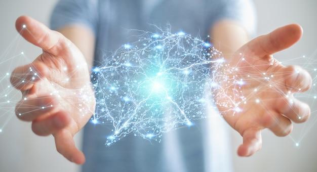Бизнесмен с использованием цифрового рентгеновского рендеринга человеческого мозга 3d-рендеринга Premium Фотографии