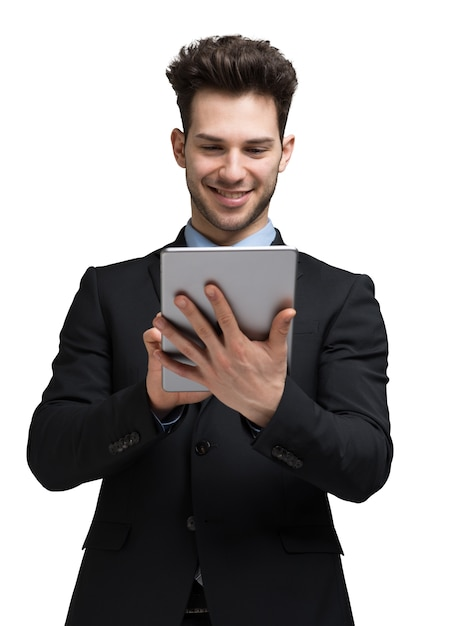 Businessman using his tablet computer. isolated on white Premium Photo