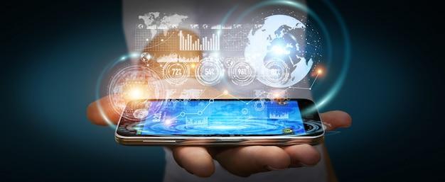 Businessman using hologram screen with digital data Premium Photo