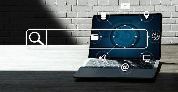 Бизнесмен, используя поиск просмотр интернет интернет вещей Premium Фотографии