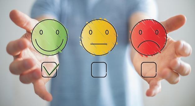 Businessman using thin line customer satisfaction rating Premium Photo
