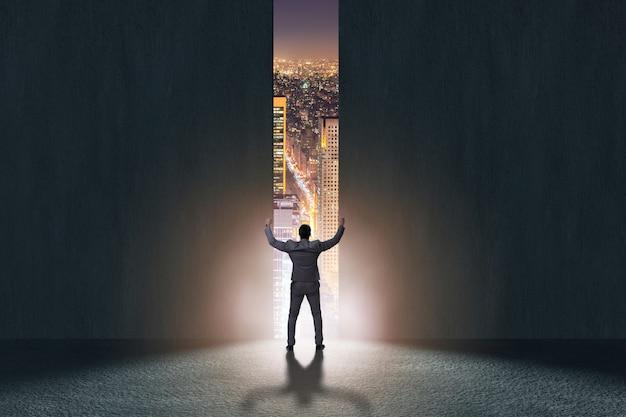 Businessman walking towards his ambition Premium Photo
