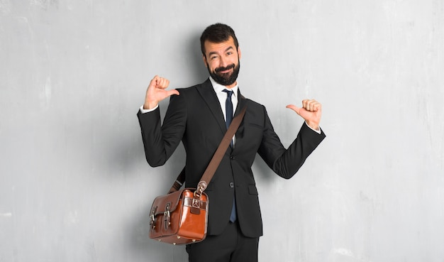 Businessman with beard proud and self-satisfied in love yourself concept Premium Photo