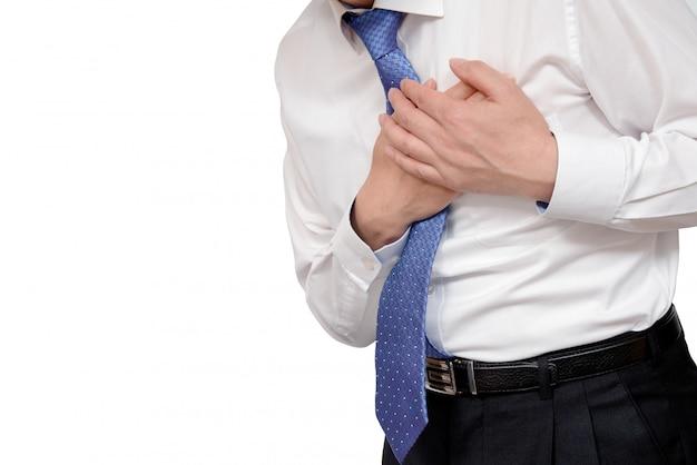 Businessman with heart attack. Premium Photo