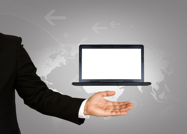 Businessman with a laptop with blank screen Free Photo