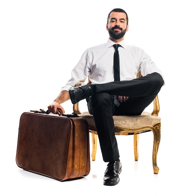 Businessman with suitcase Free Photo