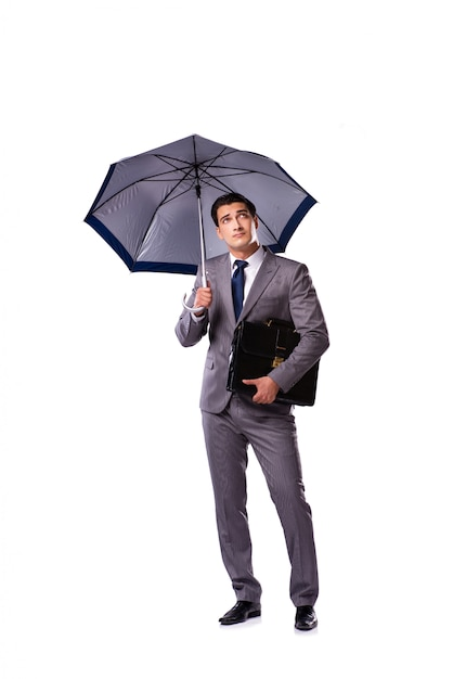 Businessman with umbrella isolated on white Premium Photo