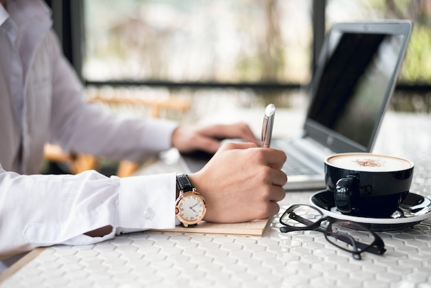 Businessman working on desk office business Premium Photo