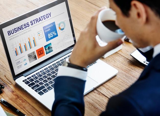 Businessman working using computer information concept Premium Photo