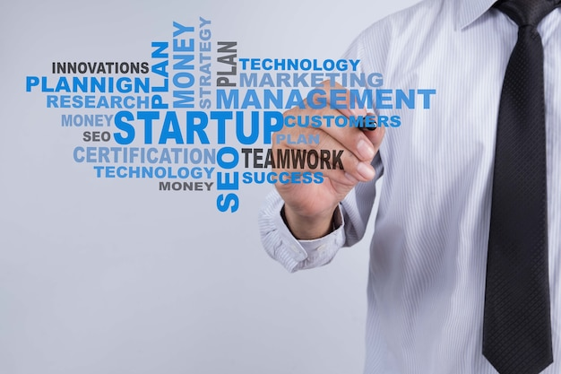 Businessman write startup word. startup technology and business concept. Premium Photo