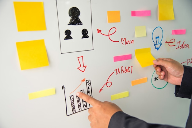 Businessmen are presenting marketing plans and action plans as they are prepared. Premium Photo