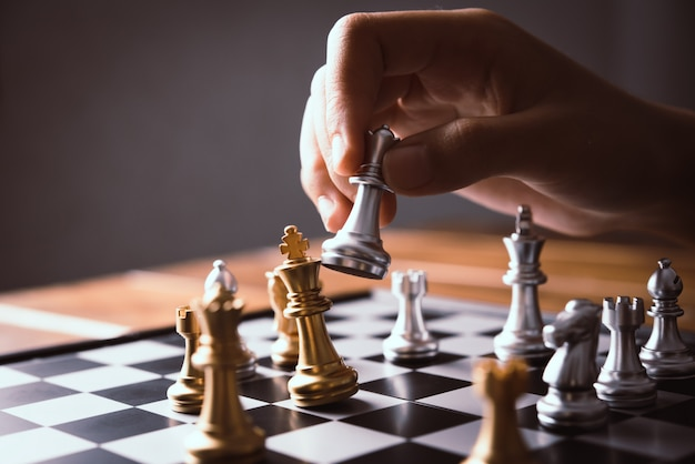 Businessmen are using chess ideas - business planning ideas Premium Photo