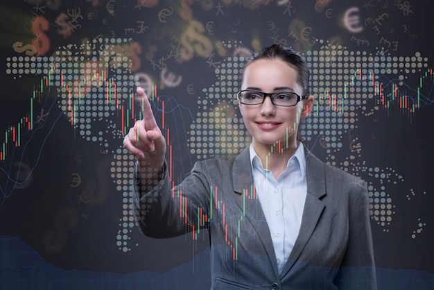 Businesswoman in business concept with chart Premium Photo
