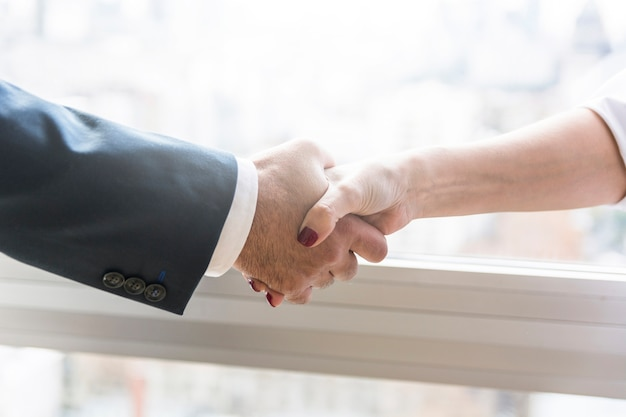 Businesswoman and businessman shaking hands Free Photo