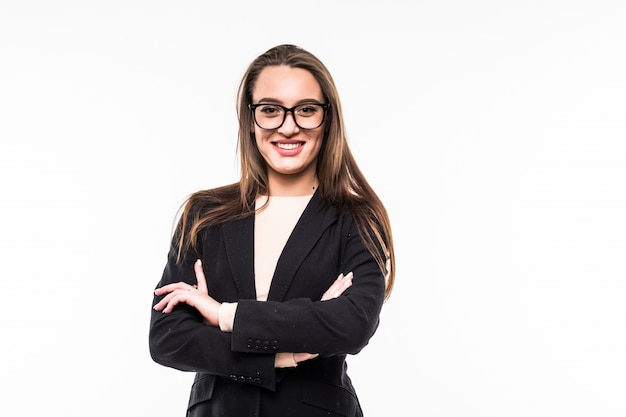 Businesswoman in classic black suite on white Free Photo