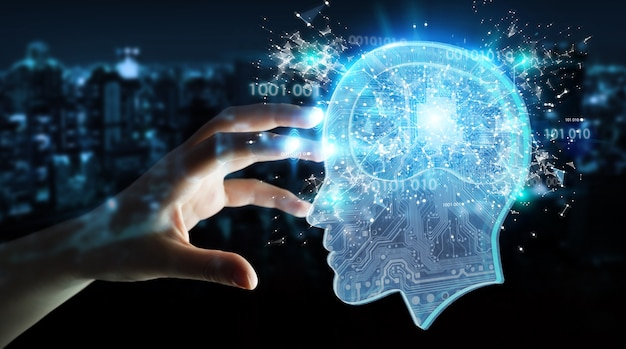 Businesswoman creating artificial intelligence Premium Photo