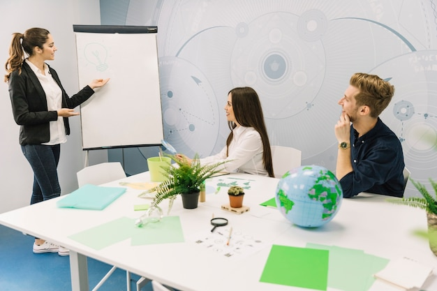 Businesswoman explaining energy saving concept to her colleagues on flipchart Free Photo
