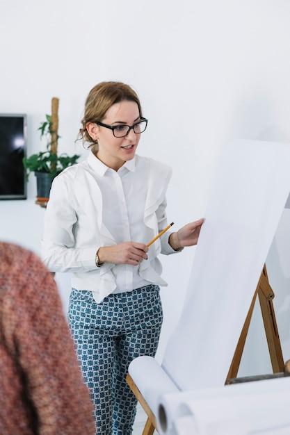 Businesswoman explaining new business plan on flipchart Free Photo