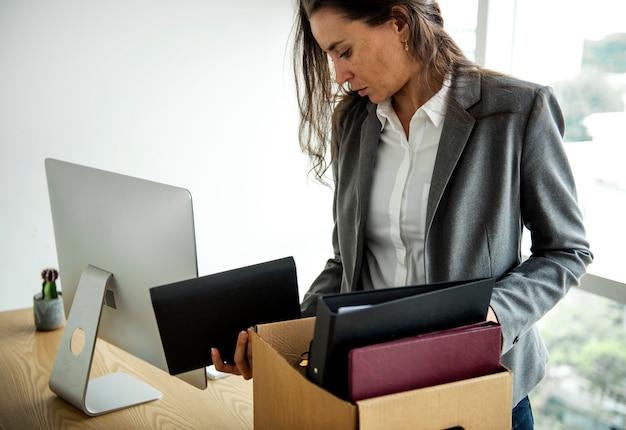 Businesswoman got fired unemployed feeling stressed Premium Photo