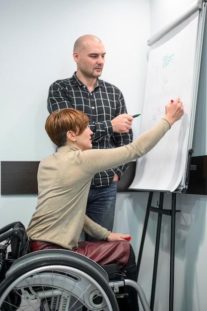 フリップチャートに書いて車椅子の女性実業家 無料写真