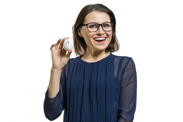 Businesswoman shows number 1. Premium Photo
