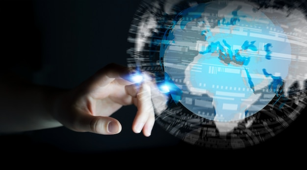 Businesswoman touching global network on planet earth 3d rendering Premium Photo