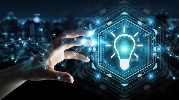 Businesswoman using lightbulb idea interface 3d rendering Premium Photo