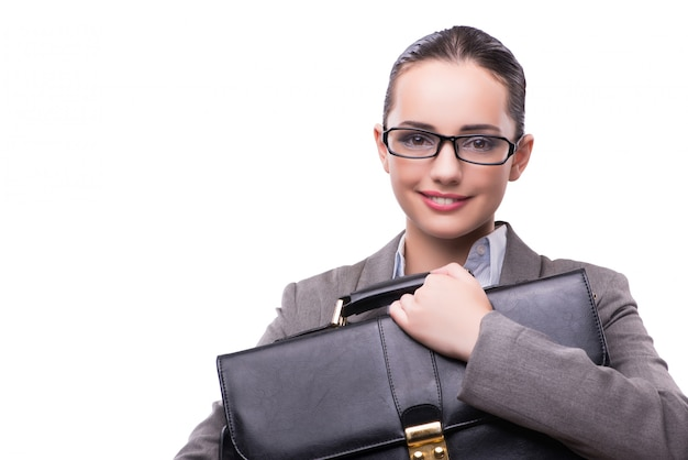 Businesswoman with briefcase isolated on white Premium Photo