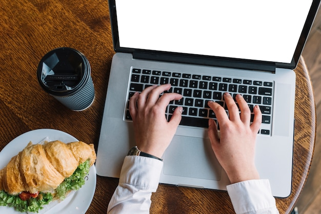 Businesswoman with laptop in coffee shop Free Photo