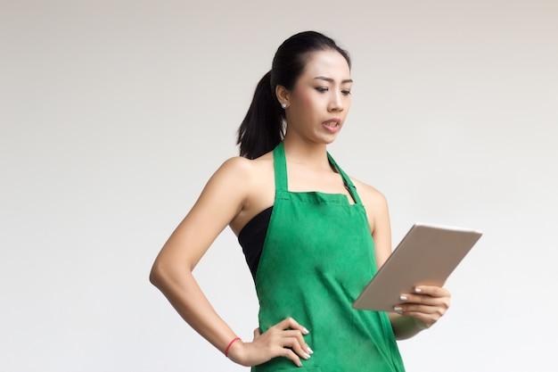 Businesswoman work service apron dress Premium Photo