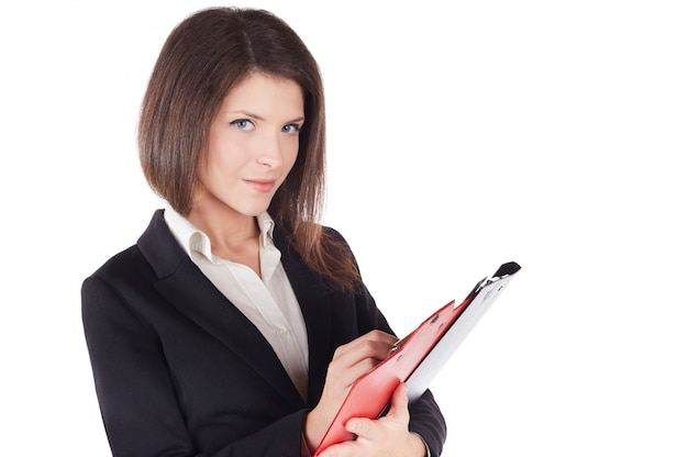 Businesswoman working with clipboard Premium Photo