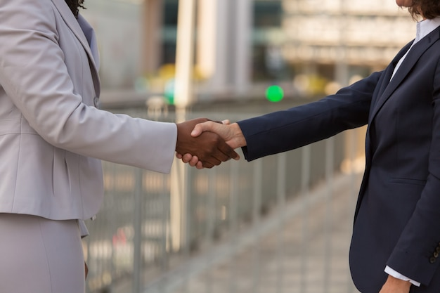 Businesswomen shaking hands with each other Free Photo
