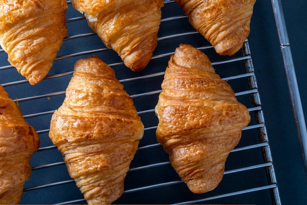Butter croissants taken from the oven on a grid tray. Premium Photo