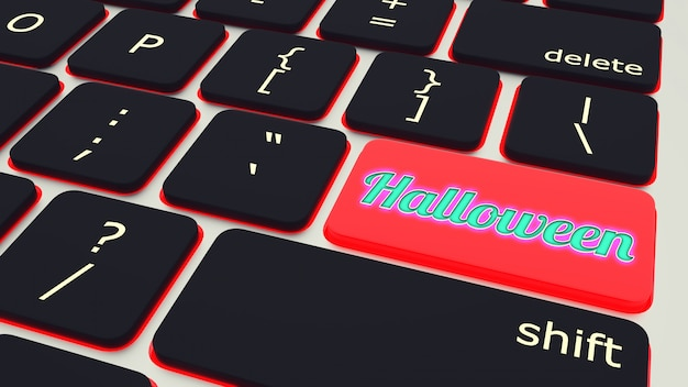 Button with text halloween laptop keyboard. 3d rendering Premium Photo