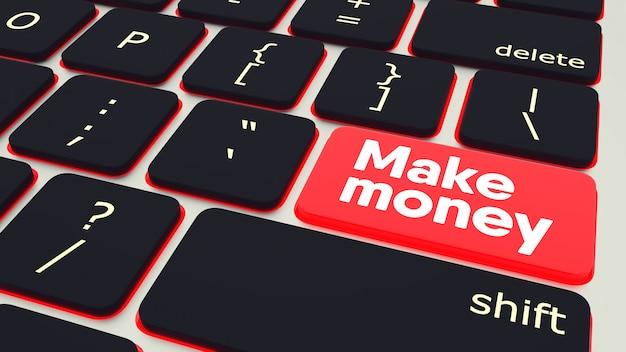 Кнопка с текстом заработать деньги ноутбук клавиатура. 3d-рендеринг Premium Фотографии