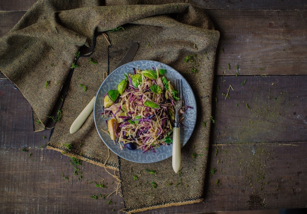 Cabbage salad on the table top view Free Photo