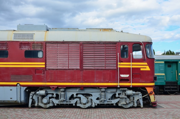 Cabin of modern russian electric train. side view of the head of railway train Premium Photo