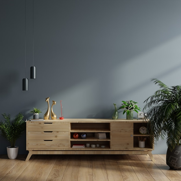 Cabinet mockup in modern empty room,dark wall. Premium Photo