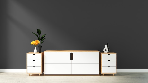 Cabinet in modern empty room,black blue wall on wooden floor, 3d rendering Premium Photo