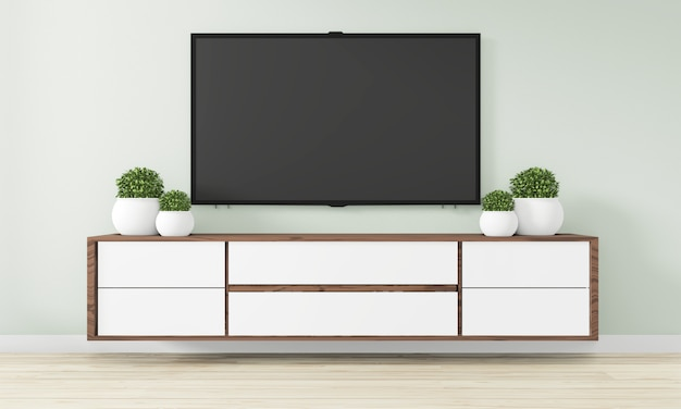 Cabinet wooden design in modern empty room japanese - zen style,minimal designs. 3d rendering Premium Photo