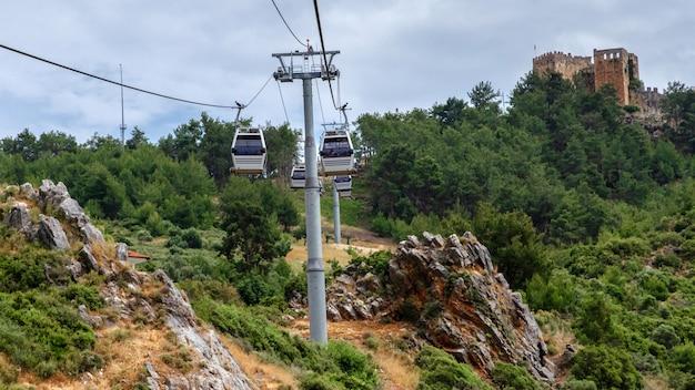 市内からアラニヤ城まで観光客を運ぶケーブルカー Premium写真