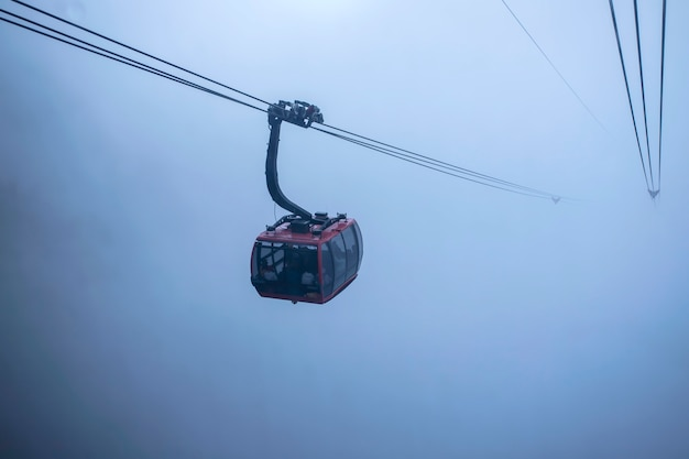 Cable car view on mountain landscape at fansipan mountain in sapa, Premium Photo