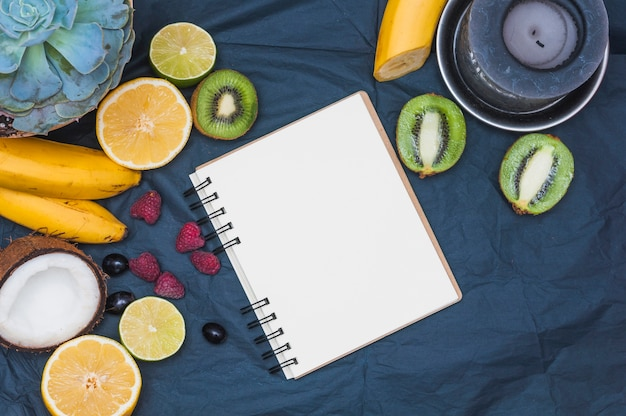 Cactus plant; fruits; coconut; candle and blank page spiral notepad on textile Free Photo
