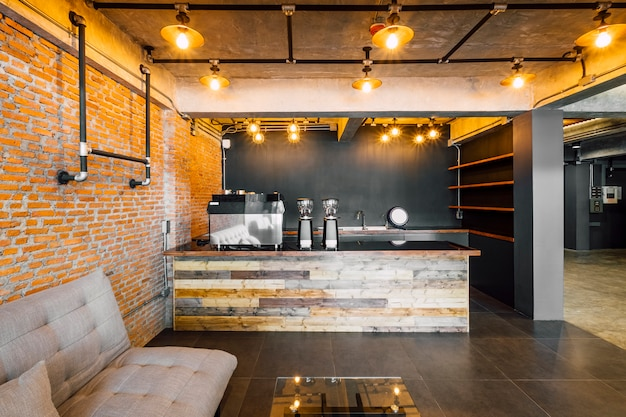 Cafe and bar in hotel loft style Free Photo